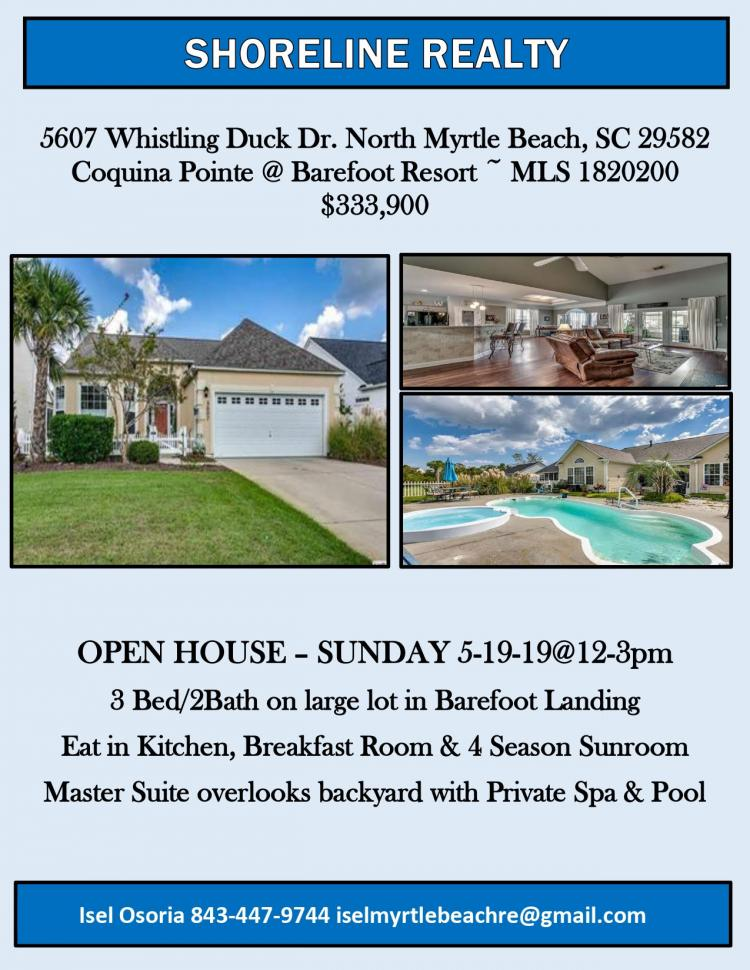 Open House @ 5607 Whistling Duck Dr. NMB from 12-3pm