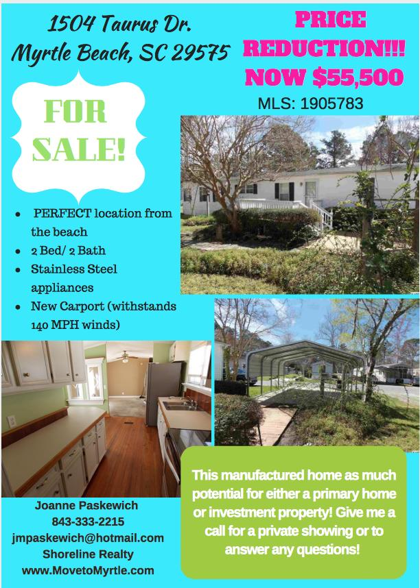 For Sale!! 2Bed/2Bath, Manufactured home that's close to the Beach!