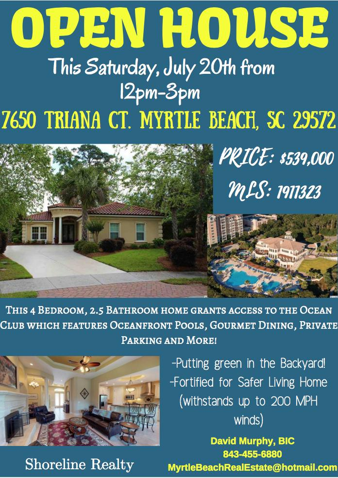 Open House @ 7659 Triana Ct. Myrtle Beach from 12-3