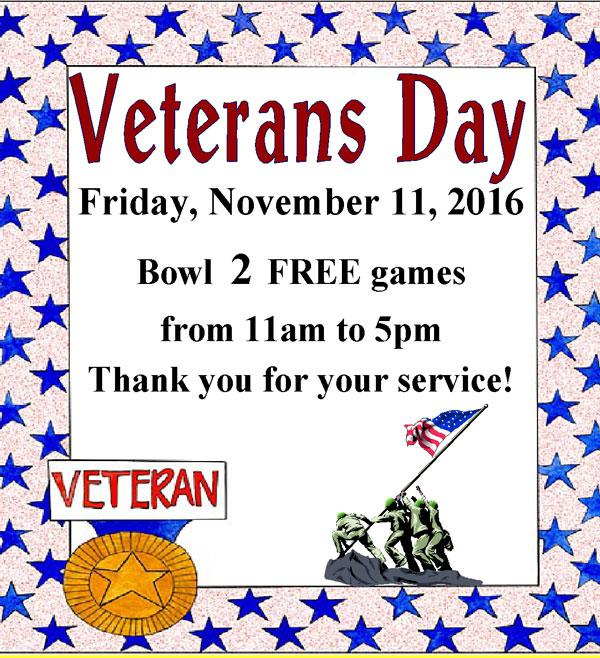 Veterans BOWL FREE at Trindle Bowl Family Fun Center