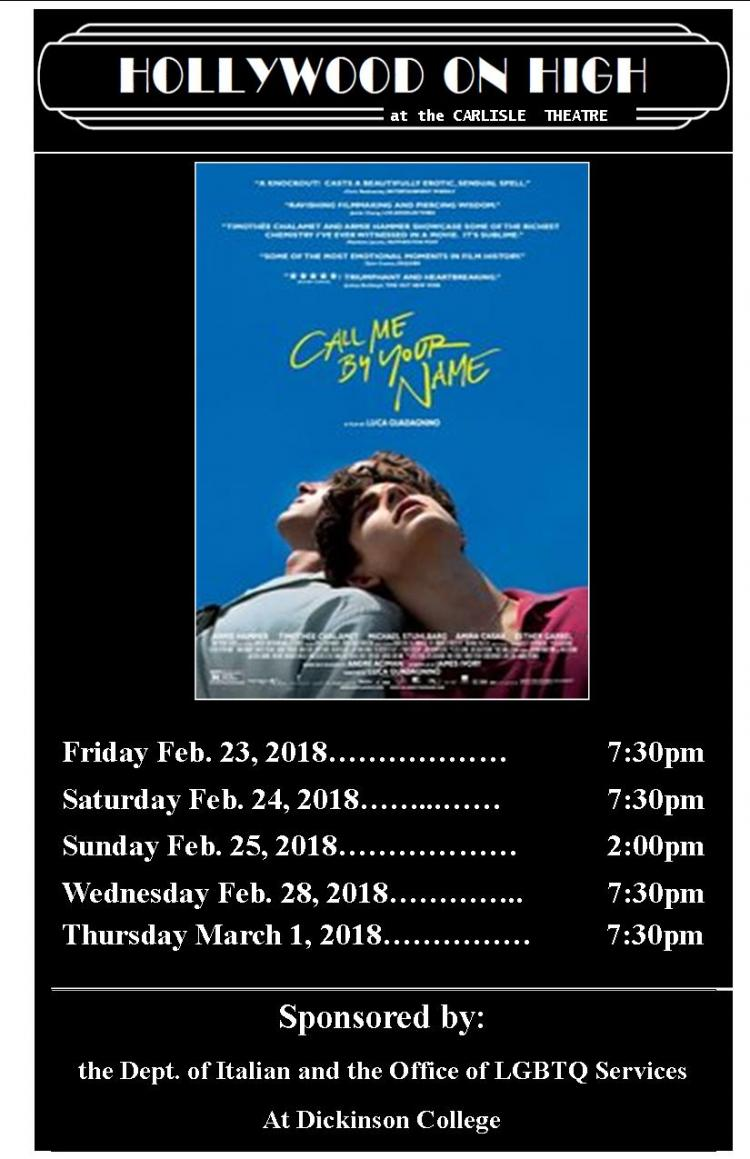 Call Me By Your Name at Carlisle Theatre