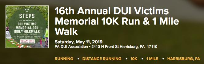 DUI Victims Memorial 10K and 1 mile walk