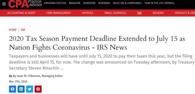 IRS:  Extends Payment Due Date ONLY!