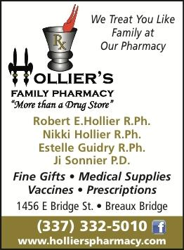 HOLLIER'S FAMILY PHARMACY:  Drive Thru only Service