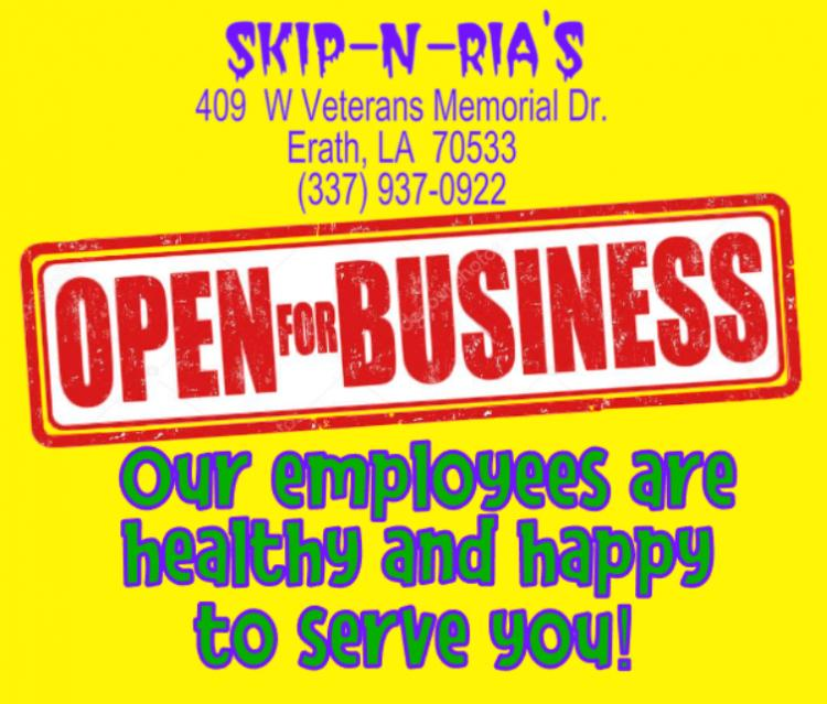 SKIP-N-RIA'S:  Open for Business!