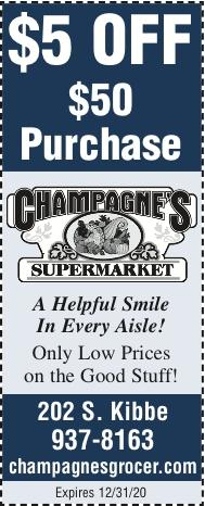 CHAMPAGNE'S SUPERMARKET:  Shop with Us!  Coupons available