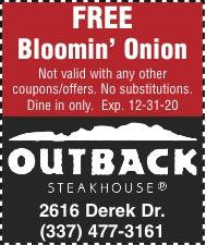 OUTBACK STEAKHOUSE:  Curbside Take-Away or Delivery! !
