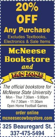 MCNEESE BOOKSTORE:  We are open with New Hours
