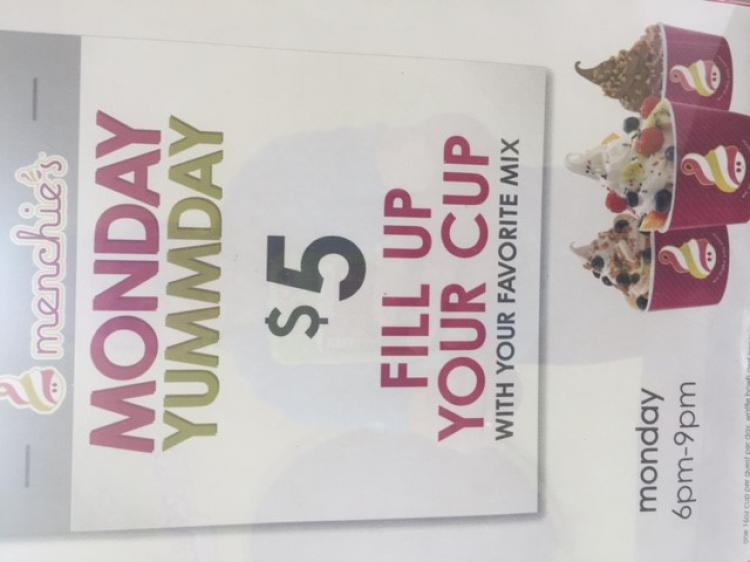 MENCHIE's Monday YumDay $5 fill your cup