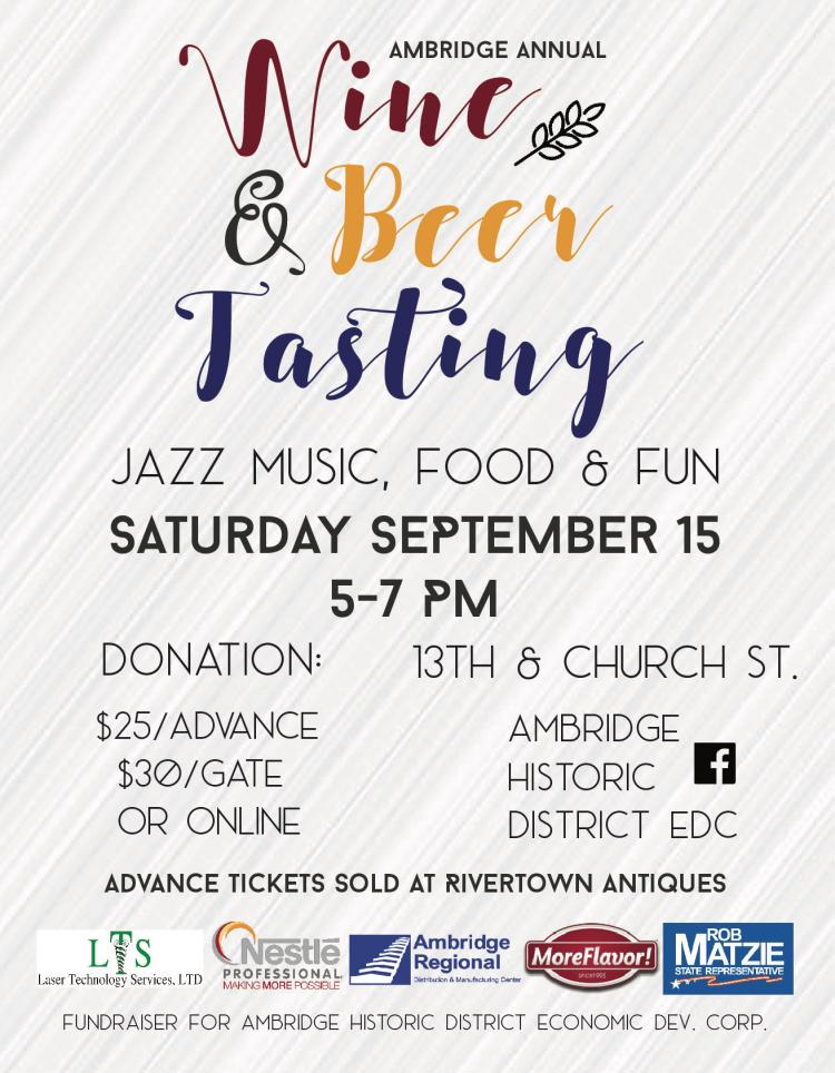 Wine & Beer Tasting Event  Sept. 15th