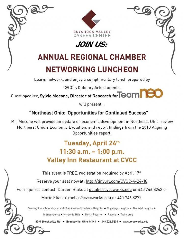 Annual Regional Chamber Networking Luncheon