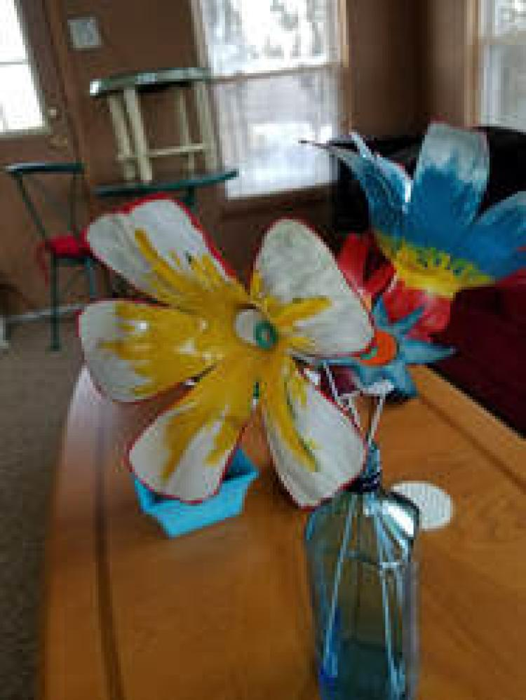 Recycled Water Bottles Transformed Into Flowers