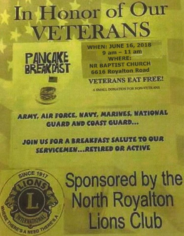Pancake Breakfast In Honor of Our Veterans