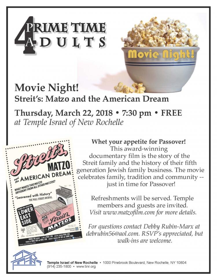 Temple Israel of New Rochelle Prime Time 4 Adults Movie Night!