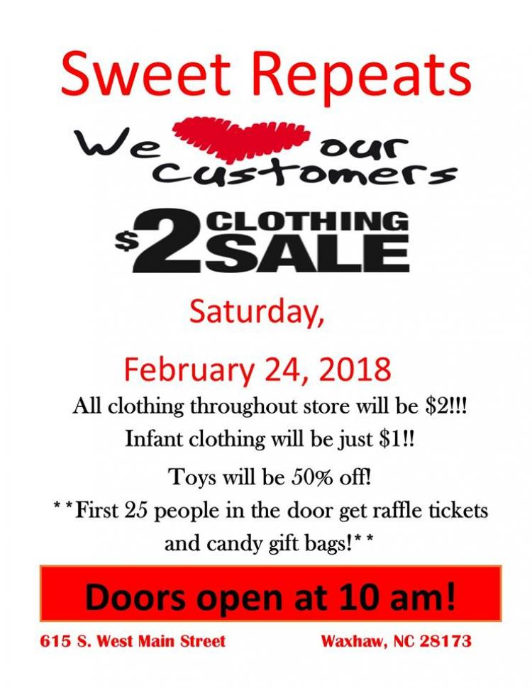 $2 Clothing Sale at Sweet Repeats