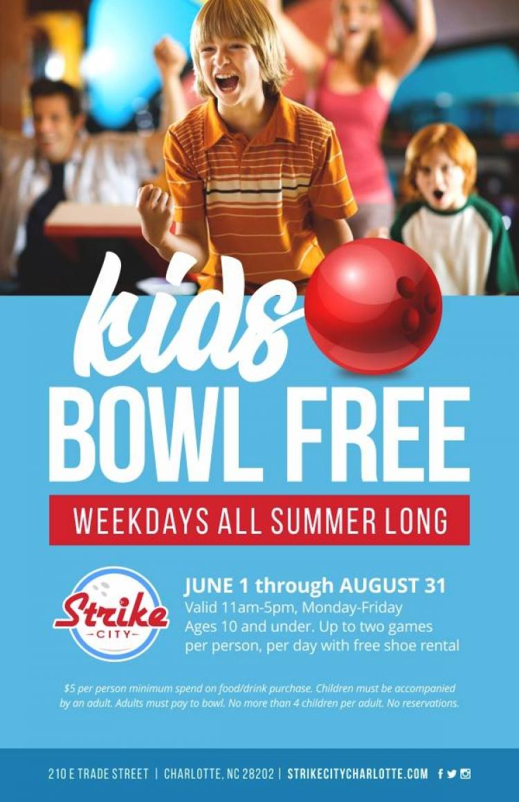Kids Bowl Free at Strike City