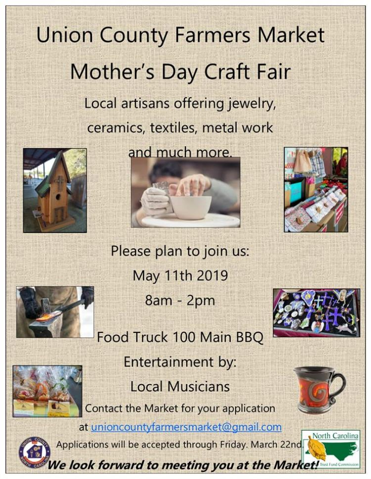 Union County Farmers Market Mother's Day Craft Fair