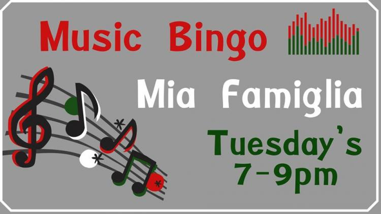 Tuesday Night Music Bingo at Mia Famiglia