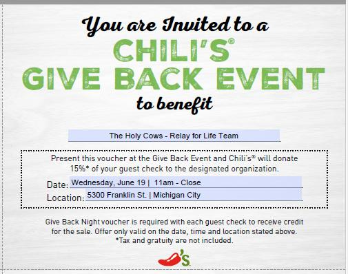 Chili's Relay for Life Give Back