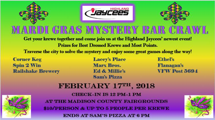 Highland Jaycees Mardi Gras Mystery Bar Crawl