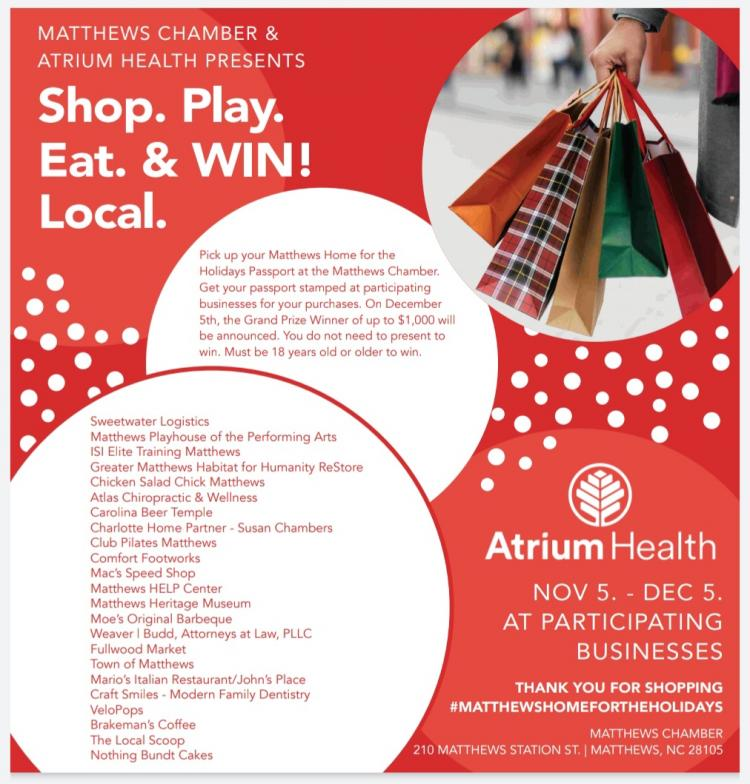 Shop. Play. Eat. & Win! Local - Matthews Home for the Holidays