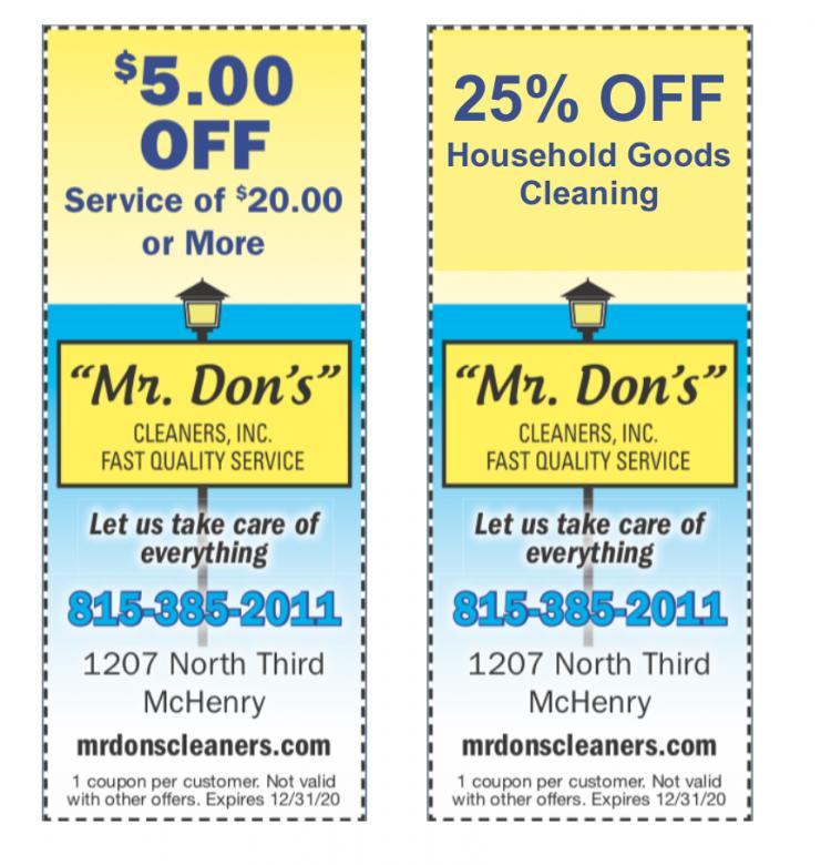 Mr. Don's Cleaners - SAVE 25% on Household Goods! - Drive Thru Open