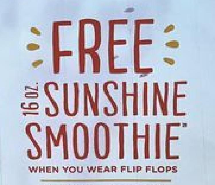 National Flip Flop Day at Tropical Smoothie Cafe Murrells Inlet - FREE Smoothies