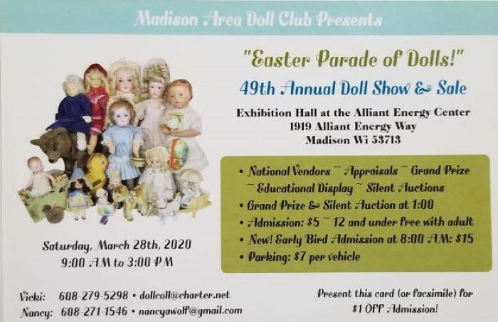CANCELLED  --- Madison Area Doll Club 49th Annual Doll Show & Sale
