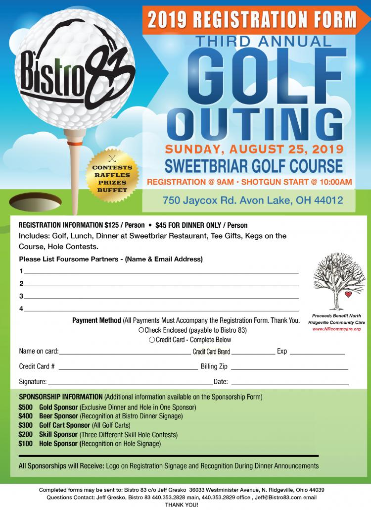 Register now for Bistro 83 - Annual Golf Outing