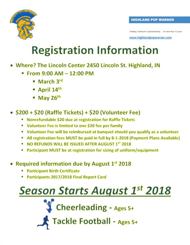 2018 Highland Pop Warner Registration