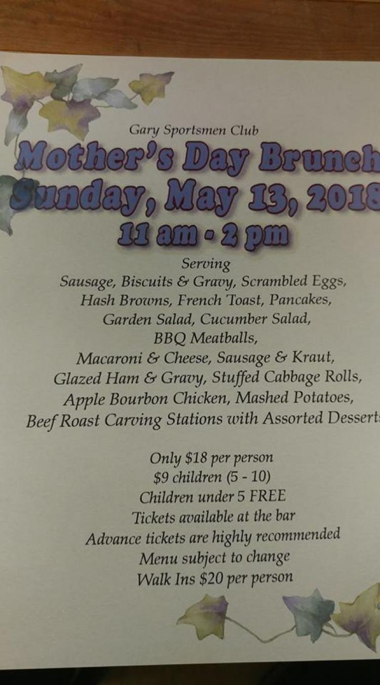Mother S Day Brunch At Gary Sportsmen Club