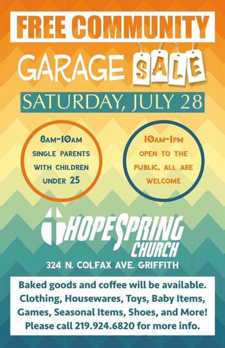 Hope spring church community garage sale in griffith for Franchise ad garage