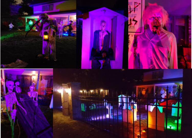 Halloween Decorated Home- Misdom Manor 1009 Melbrook Drive, Munster