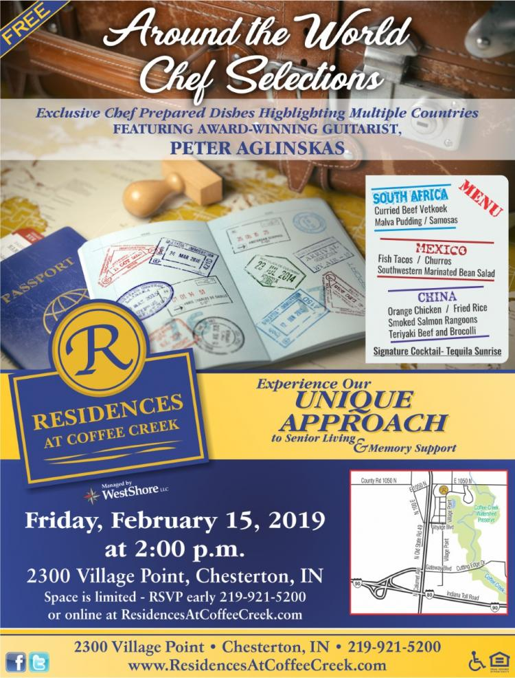 Around the World Chef Selections at Residences at Coffee Creek