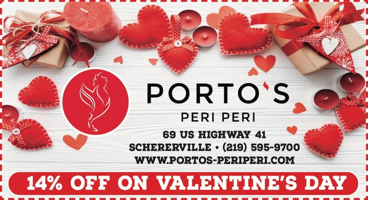 Receive a 14% DISCOUNT at Porto's Peri Peri on VALENTINE'S DAY!