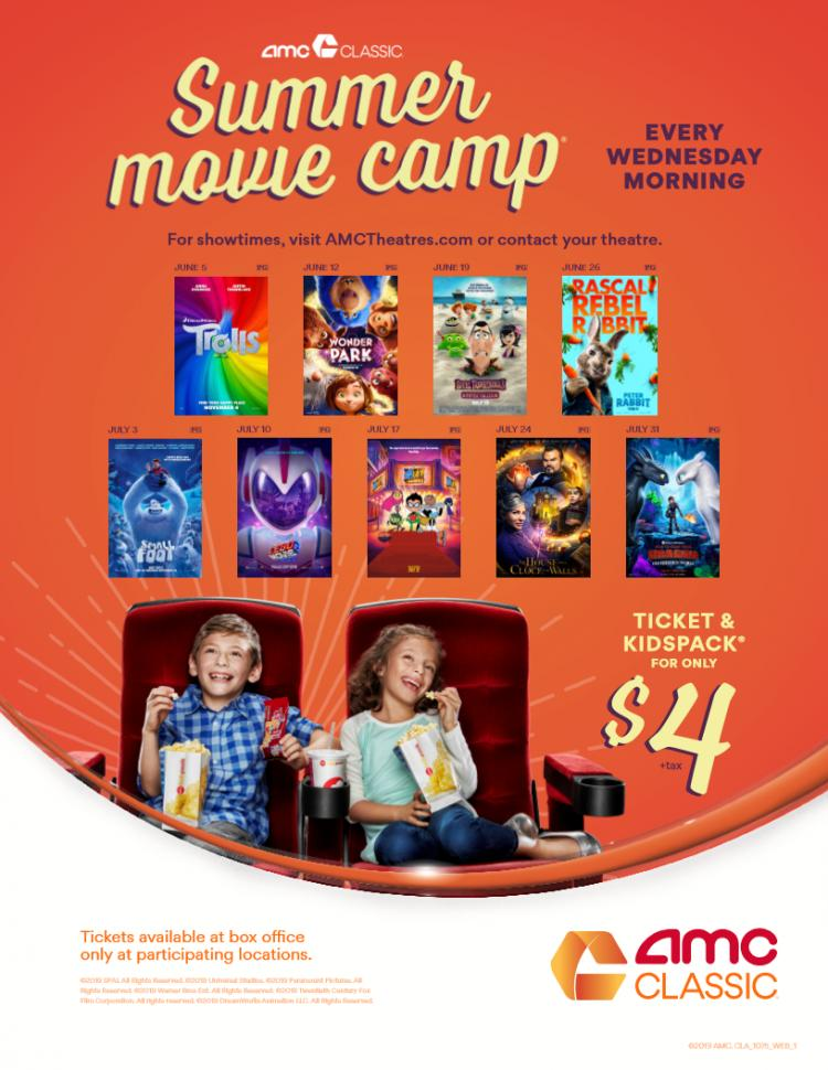 Kid-Friendly Movies plus a KidsPack every Wednesday for just  $4 (+tax)