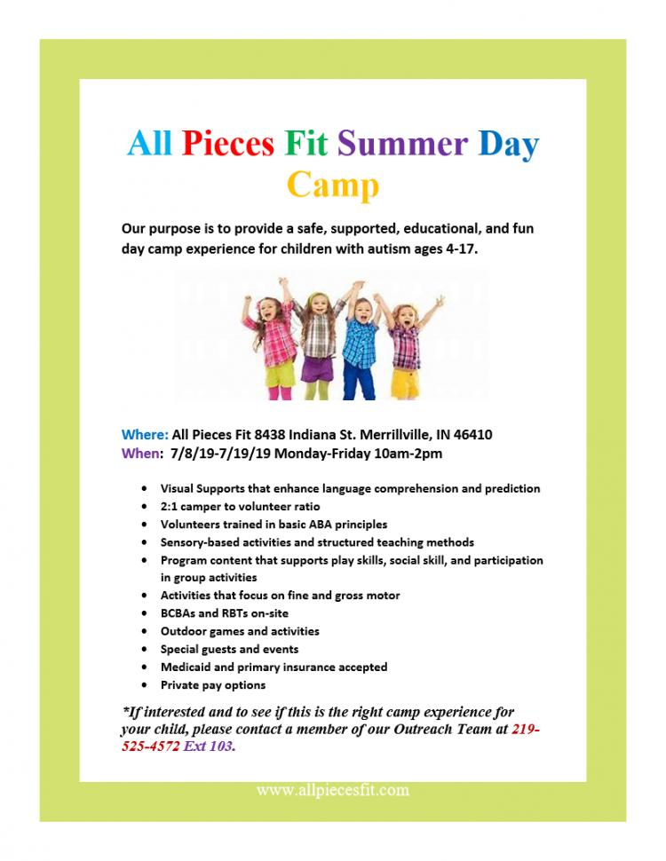 Register For All The Pieces Fit Summer Day Camp!