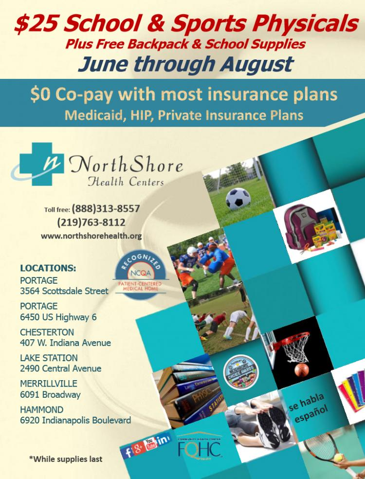 $25 School & Sports Physicals at NorthShore Health Centers!