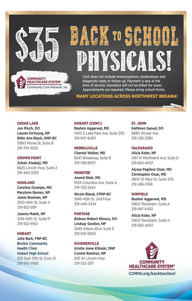 Back to School Physicals $35!
