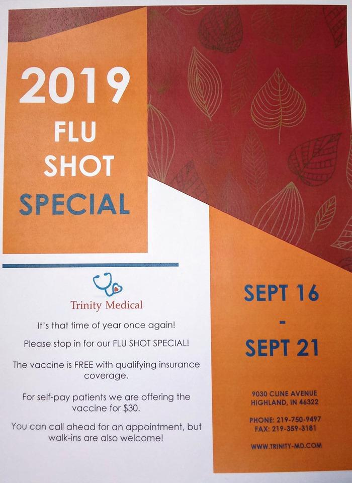 2019 Flu Shot Special at Trinity Medical