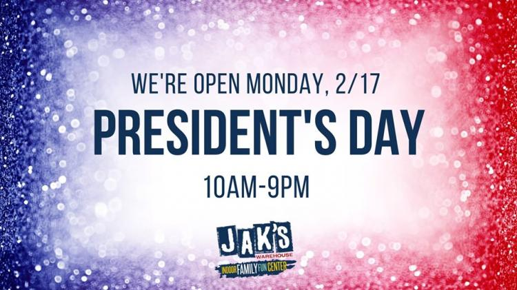 Jak's Warehouse Open President's Day!
