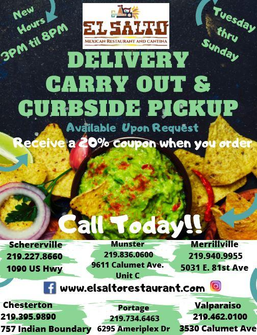Delivery, Carry Out & Curbside Pick-Up at El Salto Mexican Restaurants