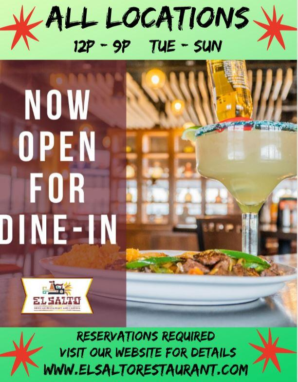 Dine-In Offered at El Salto Mexican Restaurant & Cantina