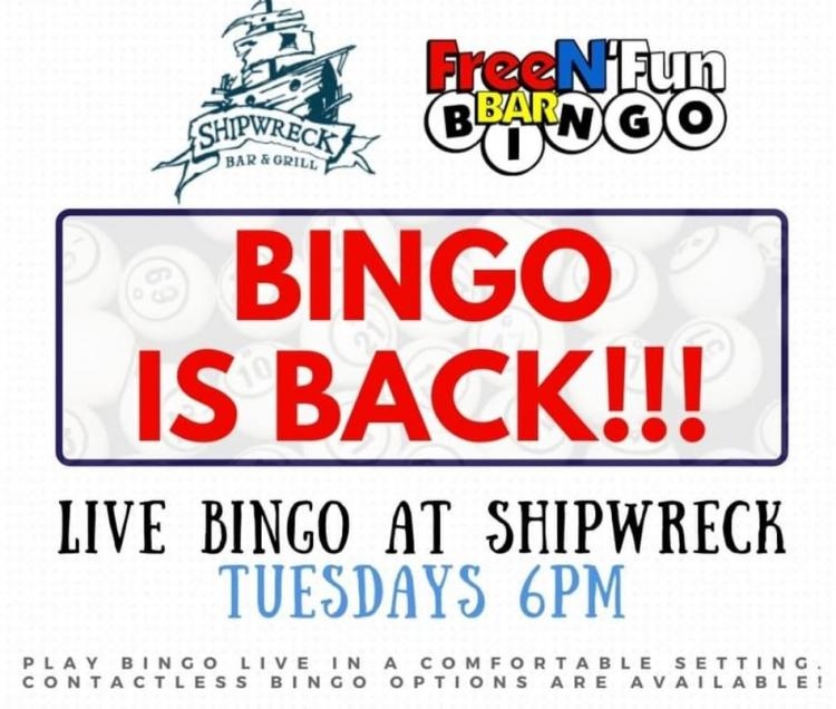 Bingo is Back at Shipwreck Bar & Grill