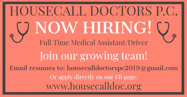 NOW HIRING:  Full-time Medical Assistant/Driver