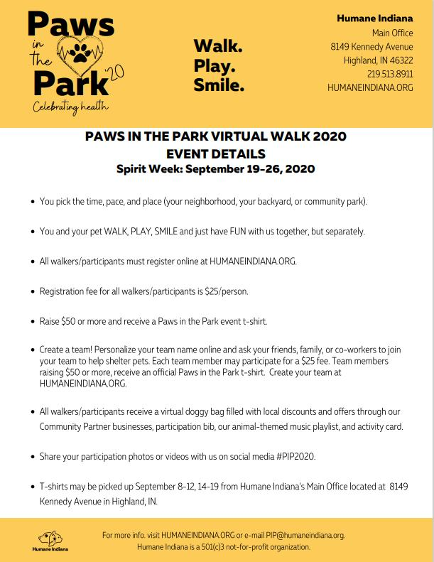 Paws in the Park Virtual Walk 2020
