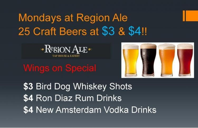 Monday's at Region Ale Tap House & Eatery