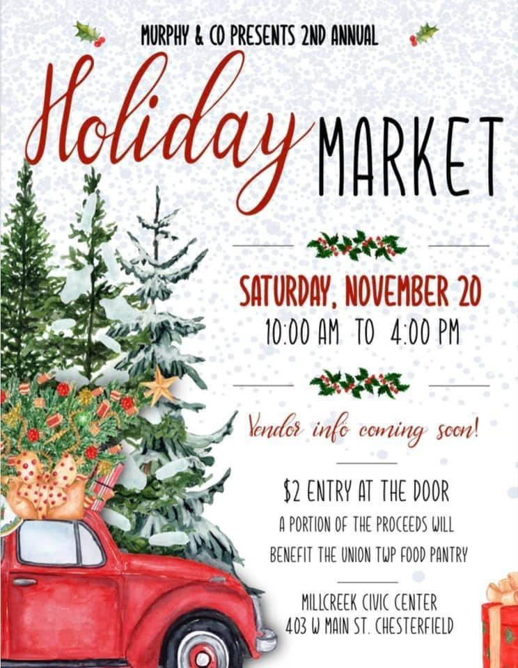 Vendors Needed for a Holiday Market at Millcreek Civic Center in Chesterfield