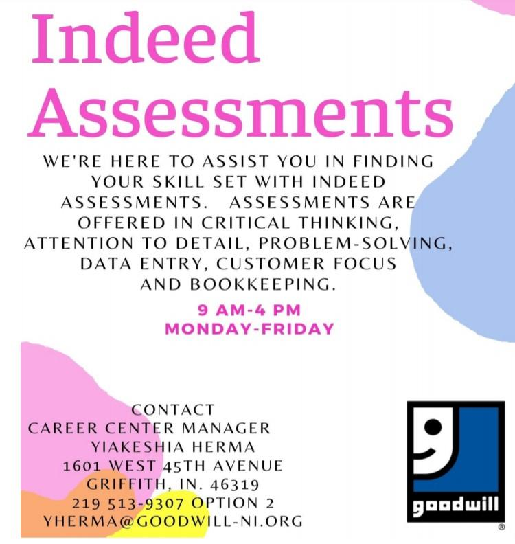 Indeed Assessments at the Goodwill Career Center in Griffith