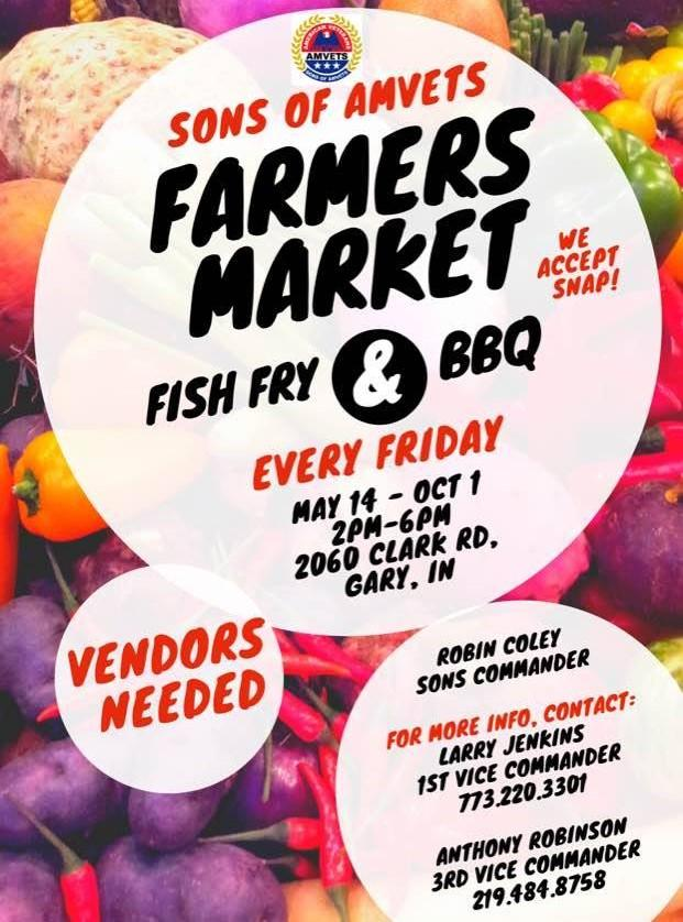 Sons of Amvets Farmers Market, Fish Fry & BBQ in Gary